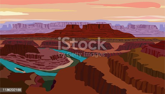 Vector illustration with view of the Colorado River and Canyonlands National Park from Dead Horse Point State Park located in the state of Utah. Adventure, travel illustration.