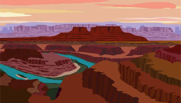 vektorillustration mit blick auf den colorado river und canyonlands national park vom dead horse point state park im bundesstaat utah - canyon stock-grafiken, -clipart, -cartoons und -symbole