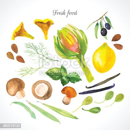 istock Vector Illustration with watercolor food. 482019132