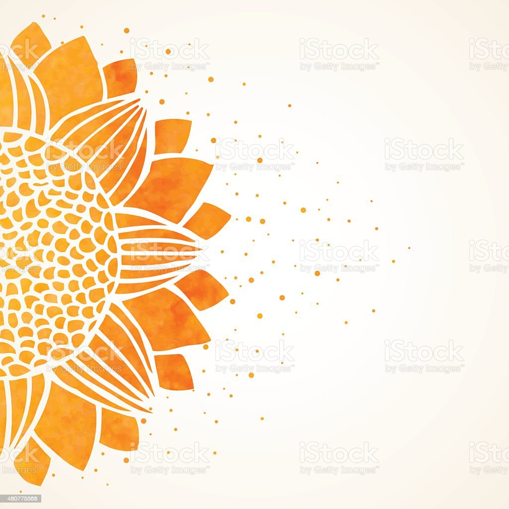 Vector illustration with watercolor sunflower vector art illustration