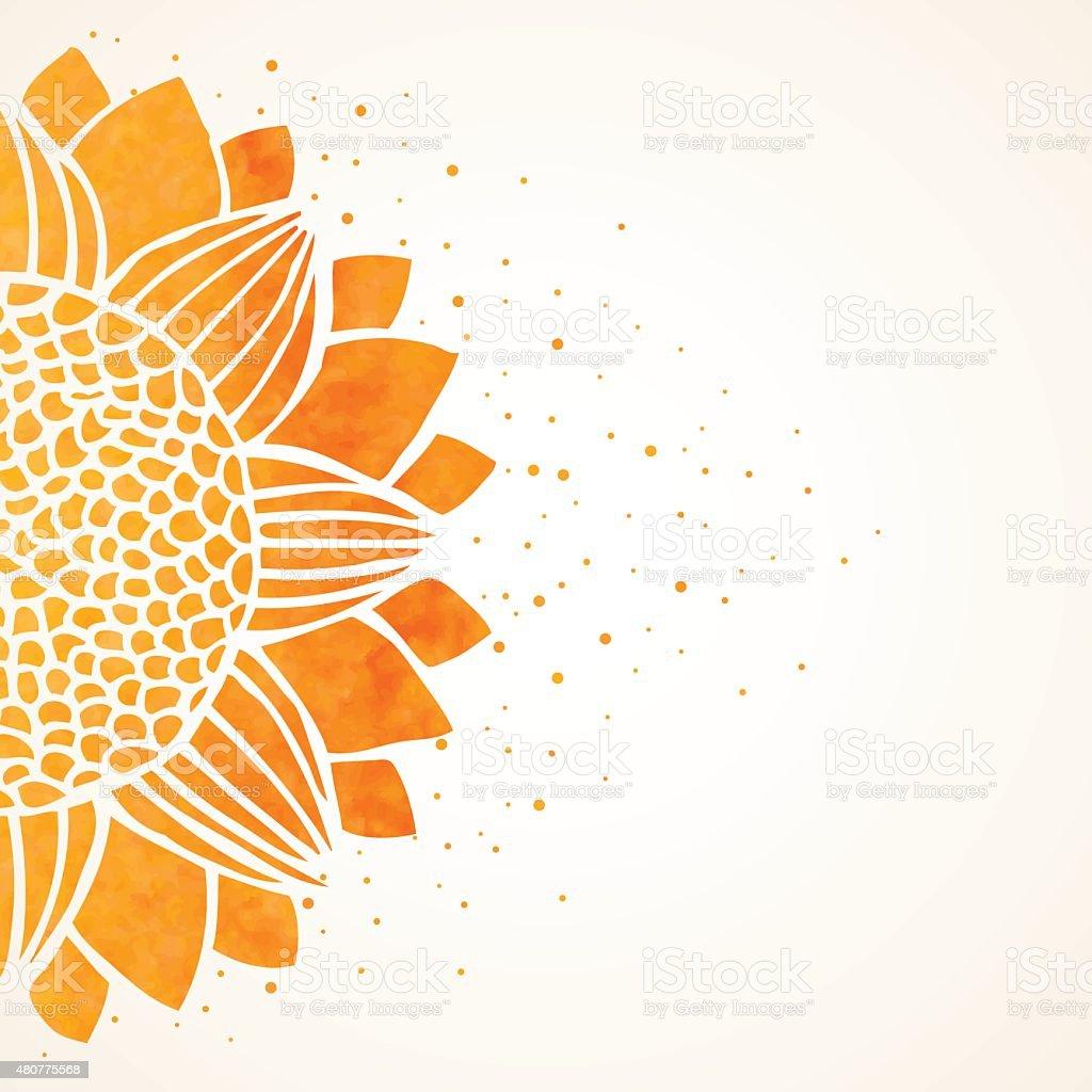Ilustração vetorial com girassol em Aquarela - ilustração de arte em vetor