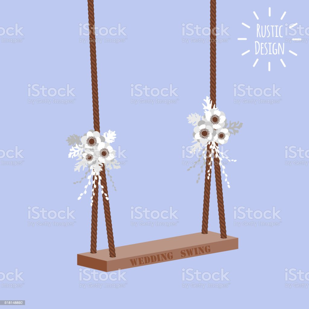 Vector illustration with wedding swing and anemone flower vector art illustration