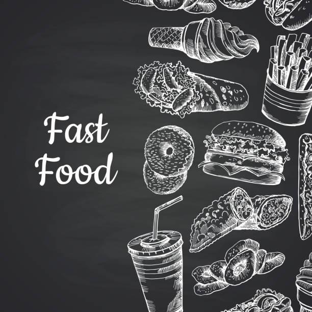 vektor-illustration mit weißen fastfood handgezeichnete an tafel - hamburger schnellgericht stock-grafiken, -clipart, -cartoons und -symbole