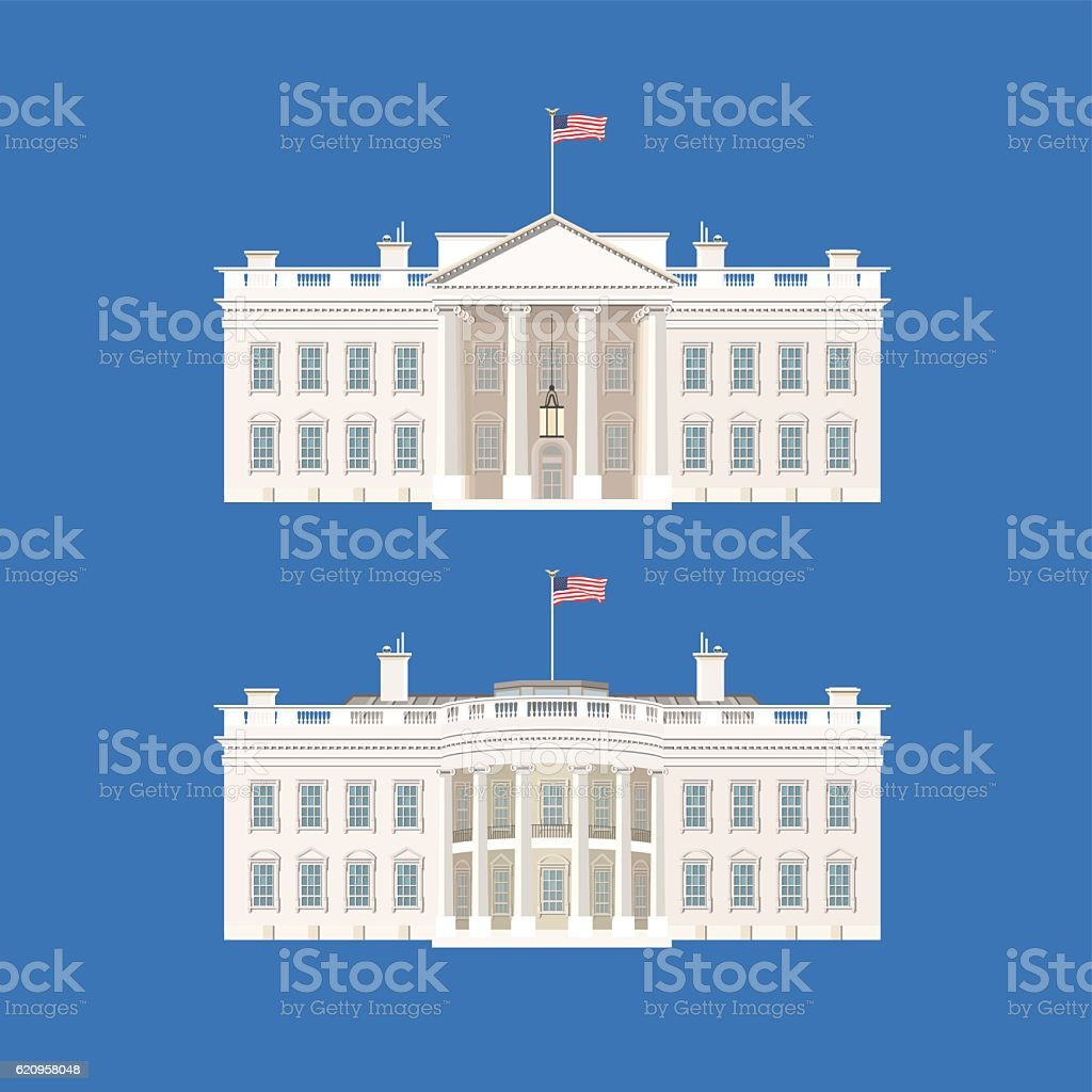 Vector Illustration With White House. vector art illustration