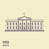Vector illustration with White House.USA in flat style with scuffed effect