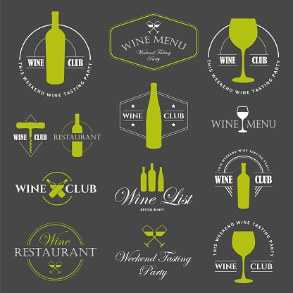 Vector Illustration with wine list logo and labels. Simple symbols glass, bottle for restaurant or winery. Traditions of drink. Decorative design illustrations. Black white style