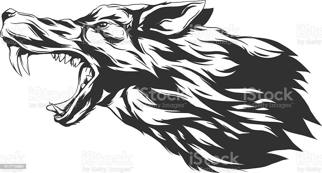 Vector illustration with wolf head vector art illustration