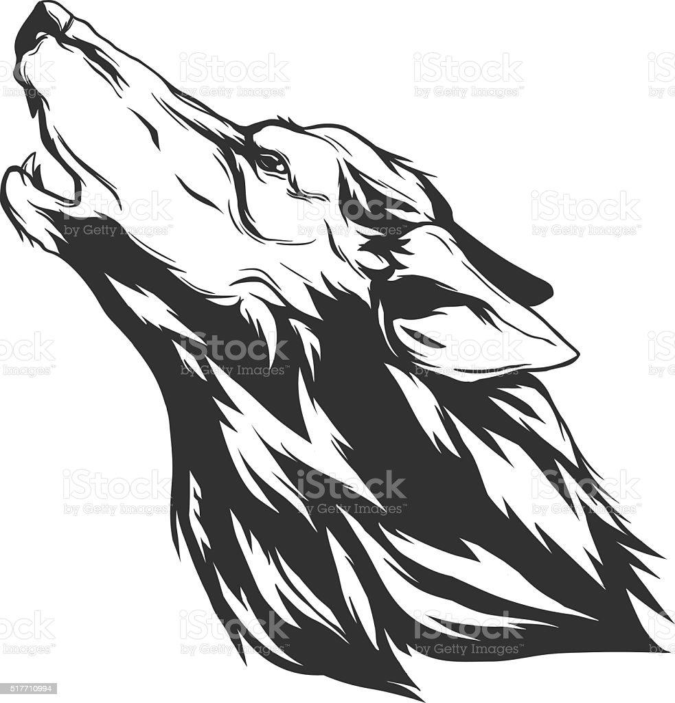 Vektorillustration Mit Wolf Kopf Stock Vektor Art Und Mehr Bilder