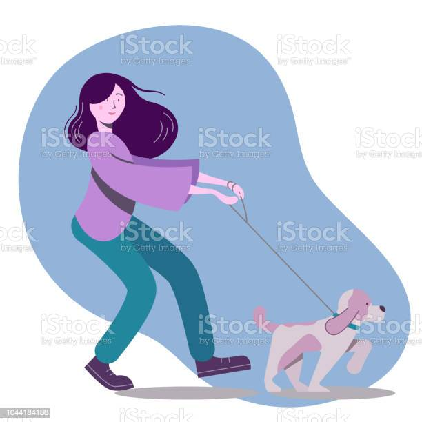 Vector illustration with woman walking the dog vector id1044184188?b=1&k=6&m=1044184188&s=612x612&h=aq9ynshatfyna zw vjpvgpy1puxxwmtuggztp0ht 0=