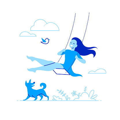 Vector illustration with young smiling girl swing on a swing on nature with clouds and grass, happy dog and flying bird.