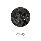 vector illustration with zodiac sign Aries