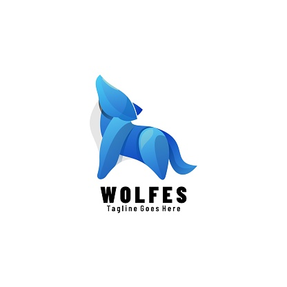 Vector Illustration Wolf Gradient Colorful Style.