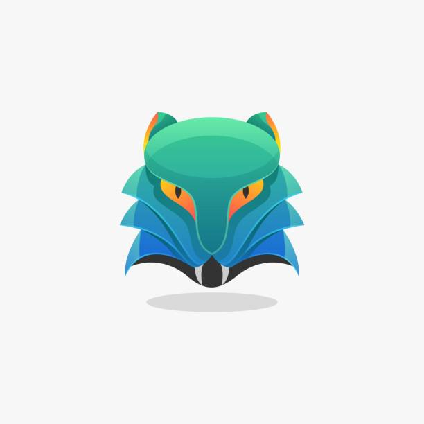 Vector Illustration Wolf Gradient Colorful Style. Vector Illustration Wolf Gradient Colorful Style. cute wolf stock illustrations