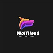 Vector Illustration Wolf Head Gradient Colorful Style.