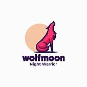 Vector Illustration Wolf Mascot Cartoon Style.