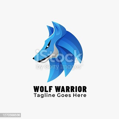 Vector Illustration Wolf Warrior Gradient Colorful Style.