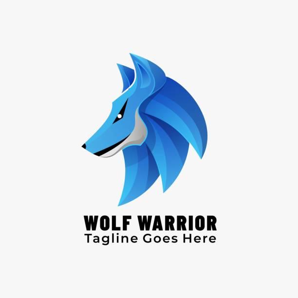 Vector Illustration Wolf Warrior Gradient Colorful Style. Vector Illustration Wolf Warrior Gradient Colorful Style. carnivorous stock illustrations