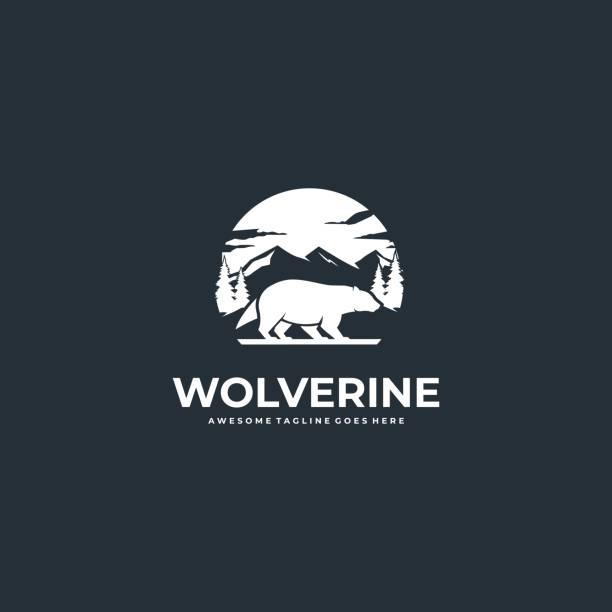 Vector Illustration Wolverine Walk With Mountain Silhouette. Vector Illustration Wolverine Walk With Mountain Silhouette. skunk stock illustrations