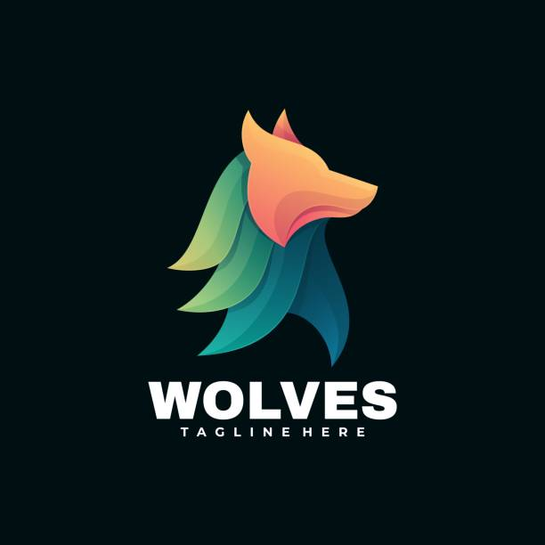 Vector Illustration Wolves Gradient Colorful Style. Vector Illustration Wolves Gradient Colorful Style. carnivorous stock illustrations