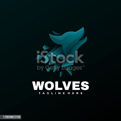 Vector Illustration Wolves Gradient Colorful Style.