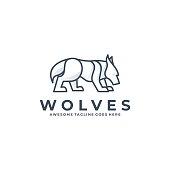 Vector Illustration Wolves Line Art Style.