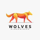 Vector Illustration Wolves Simple Mascot Style.