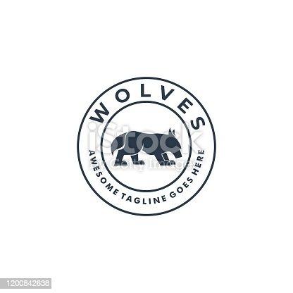 Vector Illustration Wolves Walking Vintage badge.