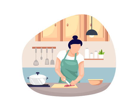Vector illustration Woman cooking