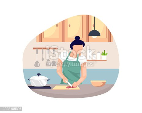 istock Vector illustration Woman cooking 1222105326
