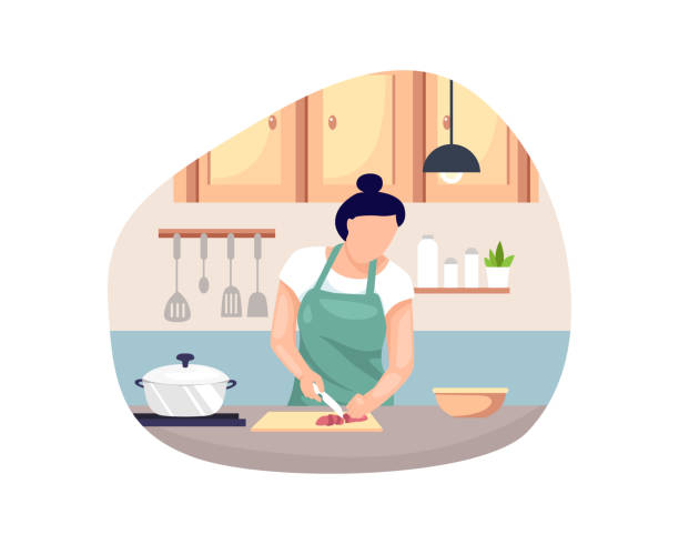 vector illustration woman cooking - woman cooking stock illustrations