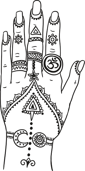 Vector illustration woman hand with magic mehendi and boho jewelry.