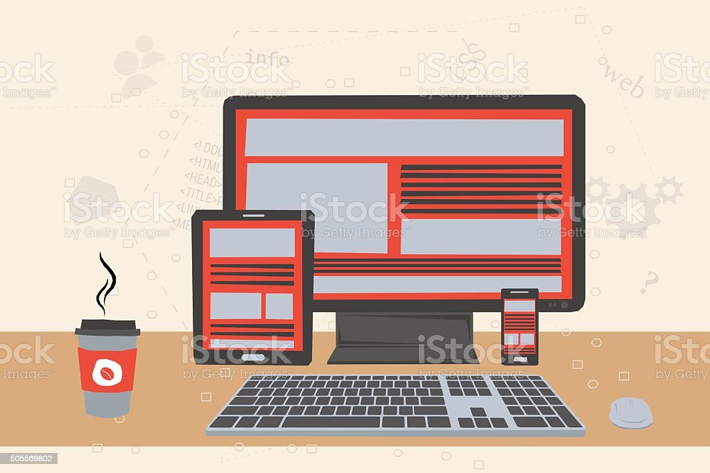 Vector illustration of working place of programmer. Concept of web...