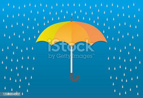 istock Vector illustration, yellow, orange umbrella and raindrops on nice blue background.. 1208654502
