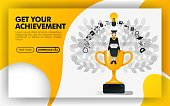 Vector illustration. Yellow website banner about get your achievement. bachelor sit on a trophy carrying a laptop and wearing toga. can use for online, print page, poster, mobile apps, UI. Flat style. Can use for, landing page, template, ui, web, homepage, poster, banner, flyer. Flat cartoon style for web ads, marketing, promotion, sticker, wallpaper, card, background, UI/UX