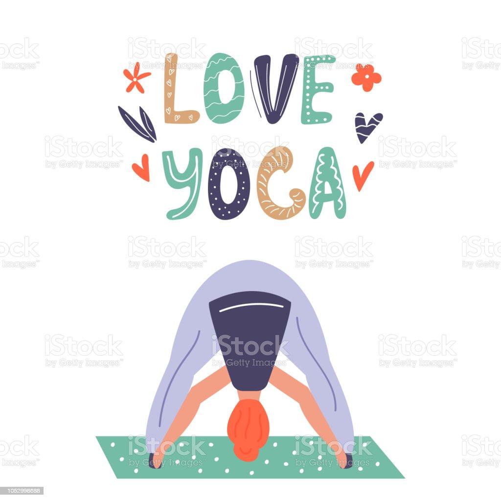 Vetores De Ilustração Em Vetor Garota Do Yoga Em Asana
