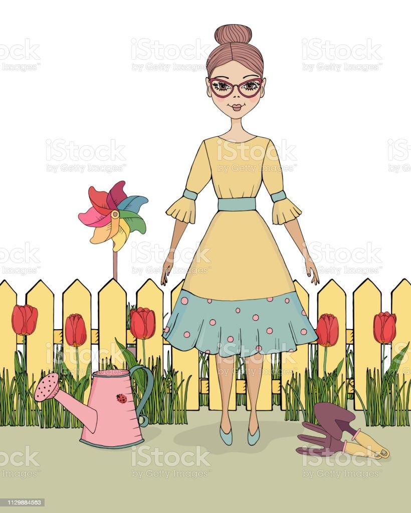 Les Outils De Jardinage Avec Photos vector illustration jeune femme dans le jardin avec jeu