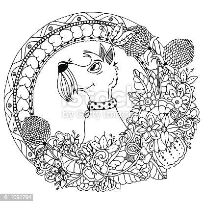 istock Vector illustration zentangl dog in a circular floral frame. Doodle 611091794