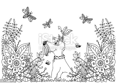 istock Vector illustration zentangl dog in flowers. Doodle floral drawing. A 611091418
