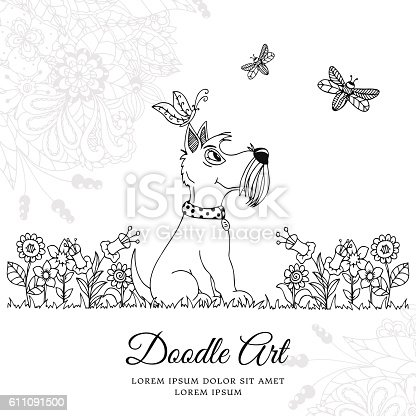 istock Vector illustration zentangl dog in flowers. Doodle floral drawing. A 611091500
