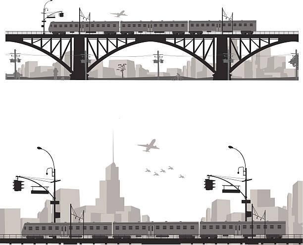 Vector illustration.City scape silhouette. Train on a bridge . Vector illustration.City scape silhouette. Train on a bridge . railway bridge stock illustrations
