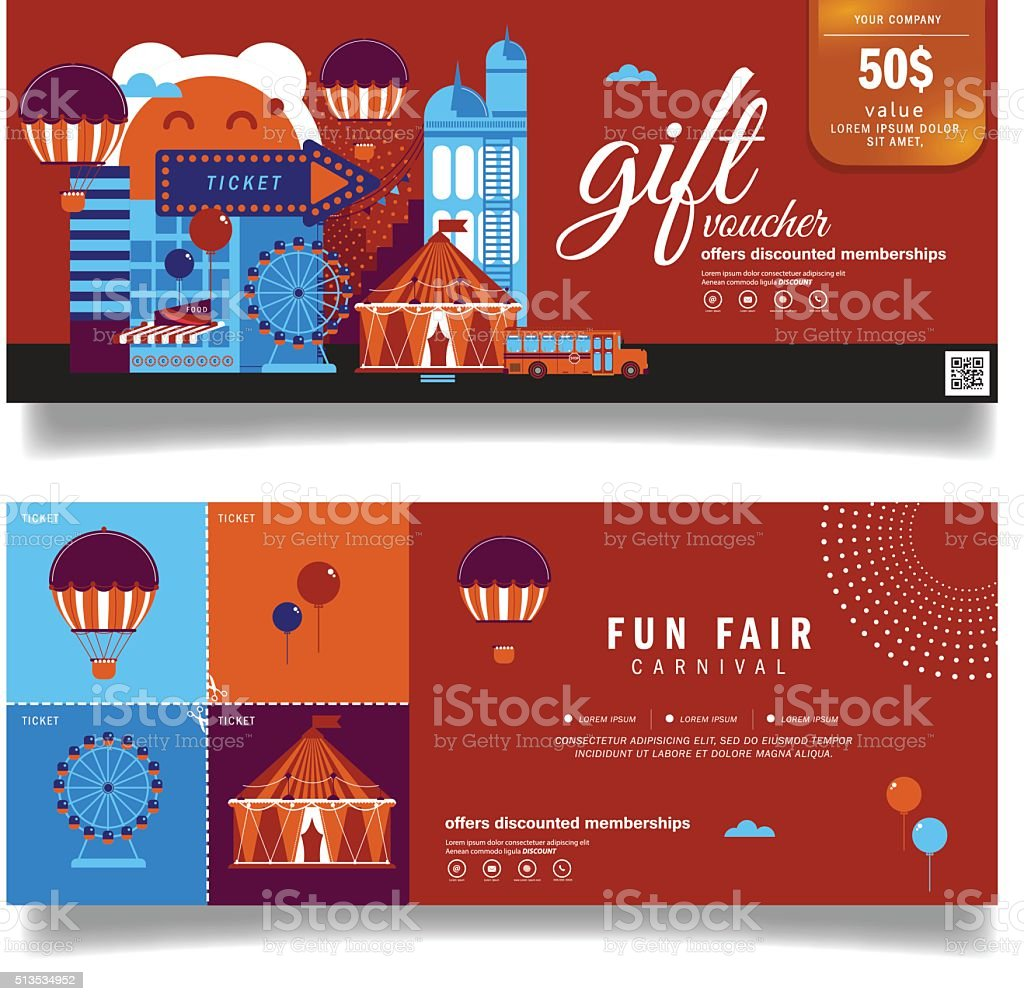 Vector Illustration,Gift Voucher Template With Modern Pattern.Carnival Fun  Fair Royalty Free  Fun Voucher Template