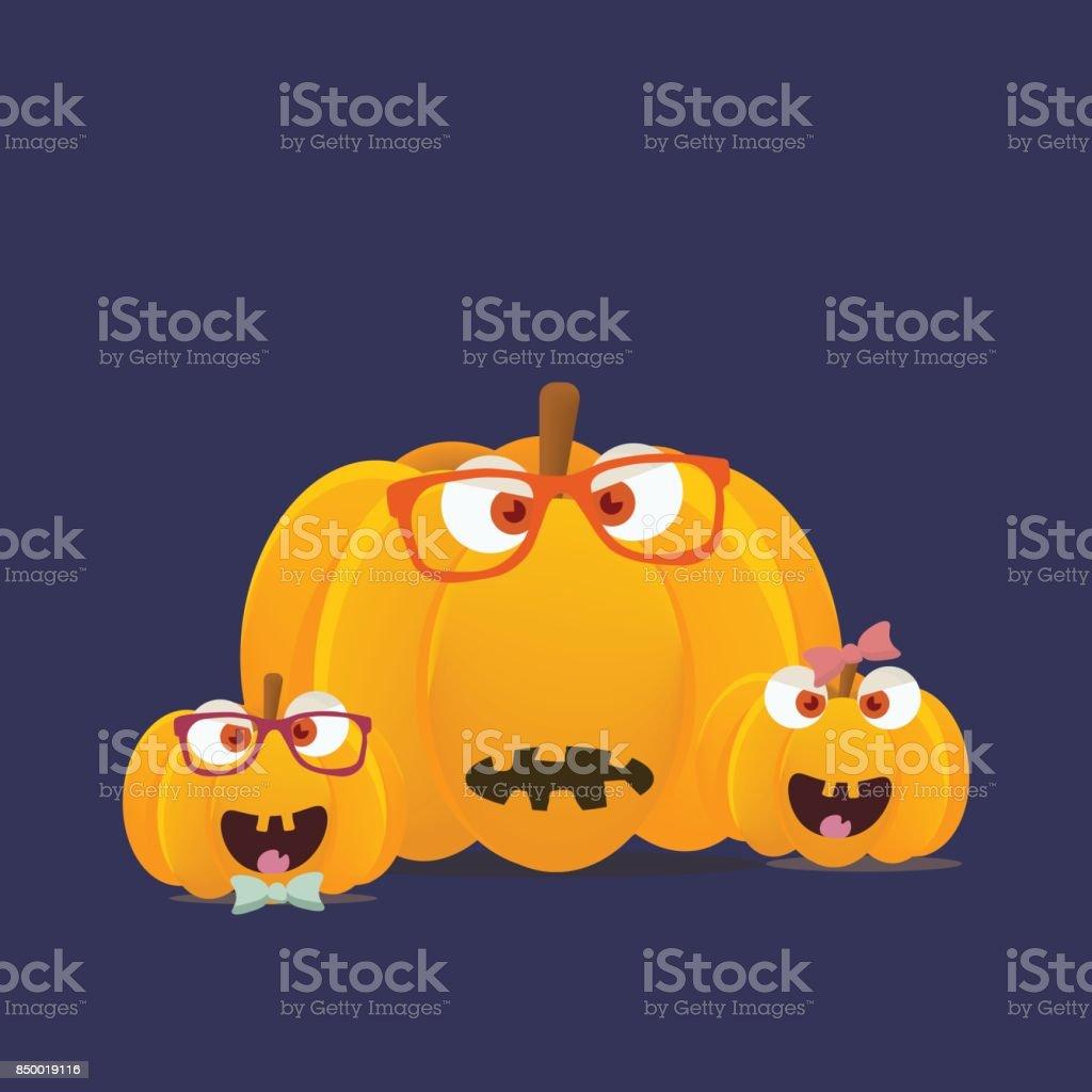 vector illustrationhalloween pumpkins mascots isolated funny