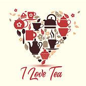 Vector illustration-I love tea. Tea icons in heart.