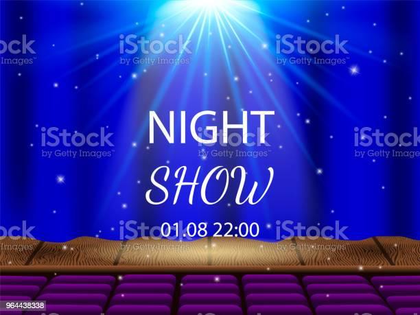 Vetores de Vetor Illustrationl Palco De Teatro Vazio E Cortinas Fechadas Auditório Com Lugares Vazios Show Da Noite e mais imagens de Andaime