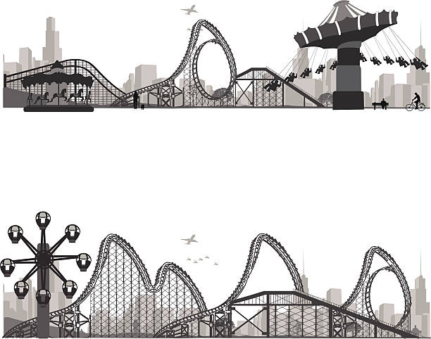 ilustraciones, imágenes clip art, dibujos animados e iconos de stock de vector silueta .carousel illustration.roller coaster - roller coaster