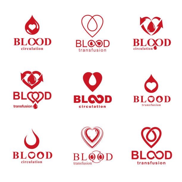 Vector illustrations created on blood donation theme, blood transfusion and circulation metaphor. Rehabilitation conceptual vector logotypes for use in pharmacology. vector art illustration