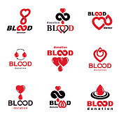Vector illustrations created on blood donation theme, blood transfusion and circulation metaphor. Rehabilitation conceptual vector symbols for use in pharmacology.