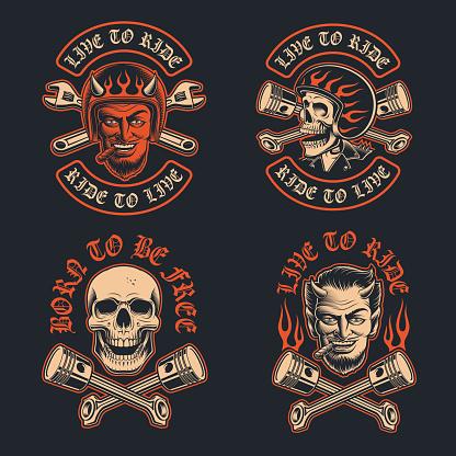 Vector illustrations of a biker devil with a cigar, biker's patch, and biker skull in the helmet.