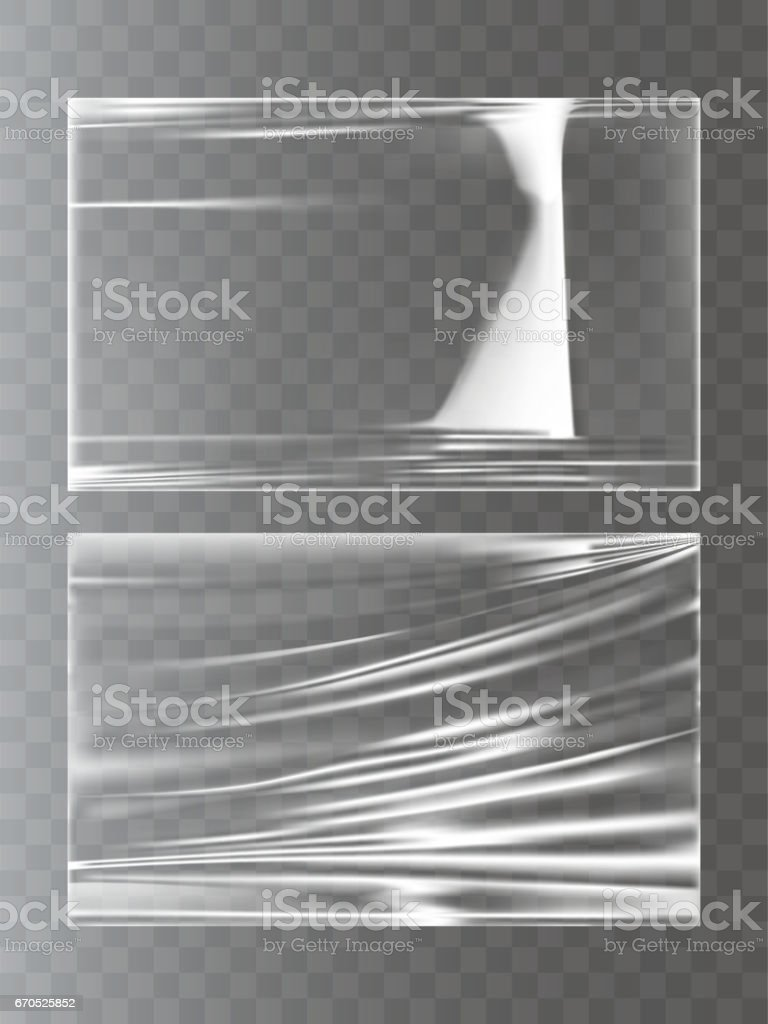 Vector illustrations of a plastic wrapping stretch film in a realistic style vector art illustration