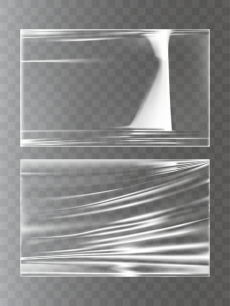 현실적인 스타일 스트레치 필름 포장 플라스틱의 벡터 일러스트 - 플라스틱 stock illustrations
